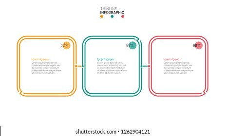 Timeline infographic template with thin line flat square boxs element. Business concept with 3 options, steps or processes. Vector illustration.