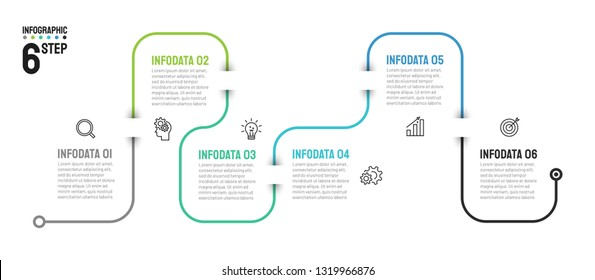 Timeline infographic thin line design with icons. Template for graph, diagram, presentations. Business concept with 6 options, steps. Vector illustration, Data visualization.