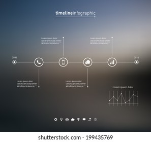 Timeline infographic with unfocused background and icons set for business design, reports, step presentation, number options, progress, workflow layout or websites. Clean and modern style