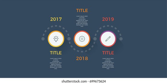 timeline infographic vector with 3 options, steps, circles, can be used for workflow, diagram, banner, process, business presentation, timeline, report. dark theme.