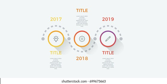 timeline infographic vector with 3 options, steps, circles, can be used for workflow, diagram, banner, process, business presentation, timeline, report. light theme.