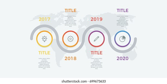 timeline infographic vector with 4 options, steps, circles, can be used for workflow, diagram, banner, process, business presentation, timeline, report. light theme.