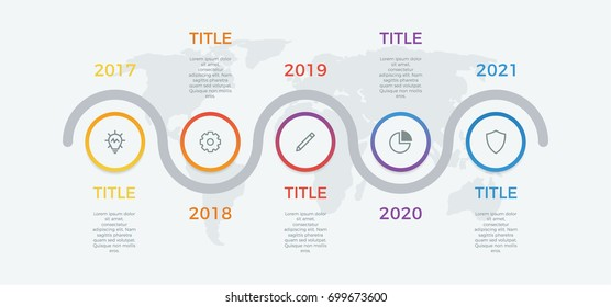 timeline infographic vector with 5 options, steps, circles, can be used for workflow, diagram, banner, process, business presentation, timeline, report. light theme.