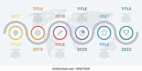 timeline infographic vector with 6 options, steps, circles, can be used for workflow, diagram, banner, process, business presentation, timeline, report. light theme.