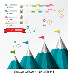 Timeline Infographic. Vector Infographics with Mountains and Graphs. Business Report Template.