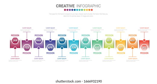 Timeline infographics for 12 months, 1 year and marketing design can be used for workflow layout, diagram, annual report, web design. Business concept with 12 options, steps or processes.