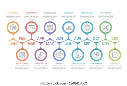 Timeline infographics with 12 months, vector eps10 illustration