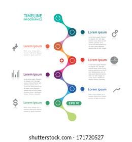 timeline infographics broken line