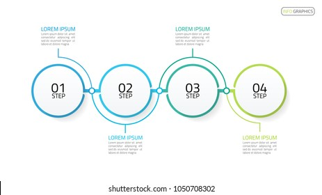 Timeline infographics. Business concept  with 4 steps, number options, circles. Vector template for presentation.