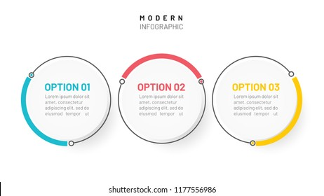 Timeline infographics design elements. Business concept with 3 steps, options, circles, lines. can be used for workflow layout, diagram, annual report or presentation. Vector illustration.