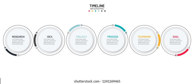 Timeline infographics design elements. Business concept with 6 steps, options, circles, lines. can be used for workflow layout, diagram, annual report or presentation. Vector illustration.