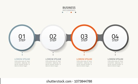 Timeline infographics design with number options. Business concept with 4 steps, options.Vector infographics elements.