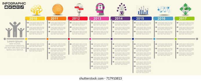 Timeline infographics design template with 10 options, process diagram, vector eps10 illustration