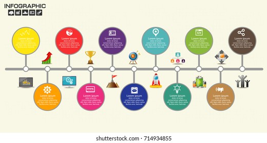 Timeline infographics design template with 11 options, process diagram, vector eps10 illustration