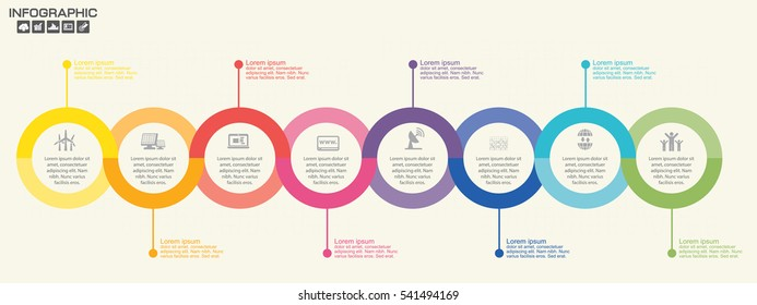 Timeline infographics design template with 12 options, process diagram, vector eps10 illustration