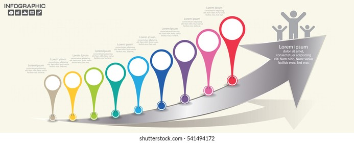 Timeline infographics design template with 9 options, process diagram, vector eps10 illustration