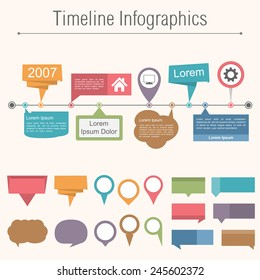 Timeline infographics design template with different elemnts for your content, vector eps10 illustration