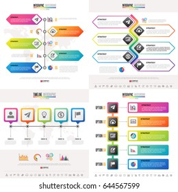 Timeline Infographics design template with icons set , Vector eps10