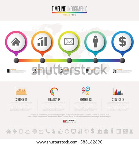 timeline infographics design template icons set stock vector