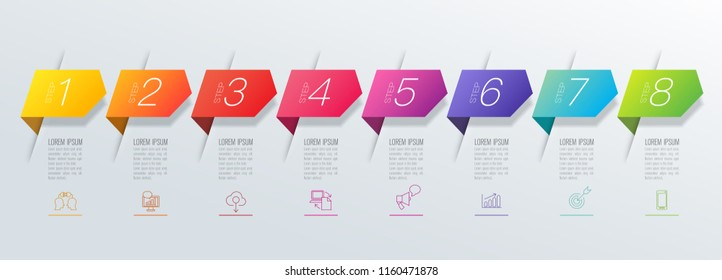 Timeline infographics design vector and marketing icons can be used for workflow layout, diagram, annual report, web design. Business concept with 8 options, steps or processes.