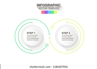 Timeline infographics design vector and marketing icons can be used for workflow layout, diagram, annual report, web design. Business concept with 2 options, steps or processes.