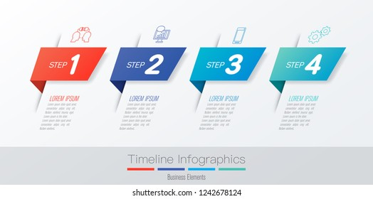 Timeline infographics design vector and marketing icons can be used for workflow layout, diagram, annual report, web design. Business concept with 4 options, steps or processes.