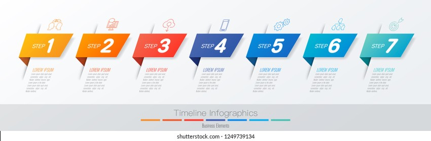Timeline infographics design vector and marketing icons can be used for workflow layout, diagram, annual report, web design. Business concept with 7 options, steps or processes.