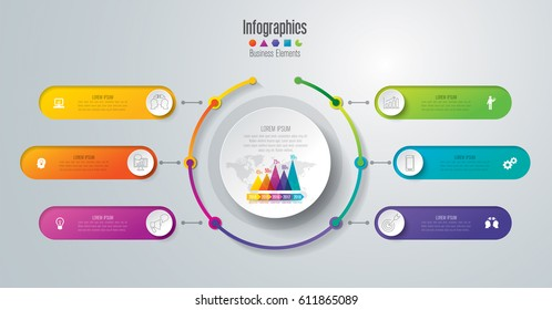 Timeline infographics design vector and marketing icons can be used for workflow layout, diagram, annual report, web design. Business concept with 6 options, steps or processes.