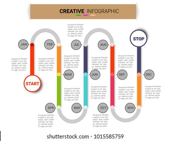 Timeline infographics design vector and Presentation business can be used for Business concept with 12 options for 1 year, steps or processes.