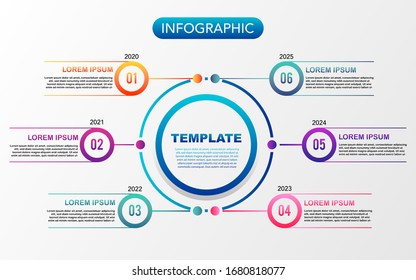 Timeline infographics diagram vector and business icons used for graph, annual report, web design, workflow layout. Business concept with 6 steps, options or processes
