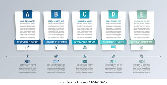 Timeline infographics for diagrams, graphs, web design. Creative business concept with 5 options.