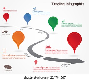 Timeline infographics with elements and icons. Vector illustration
