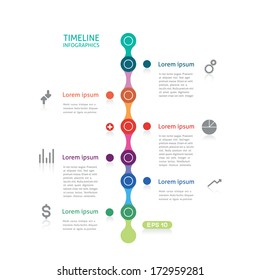 timeline infographics with six points