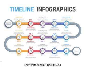 Timeline infographics template with 15 steps, workflow, process, history diagram, vector eps10 illustration