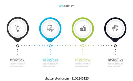 Timeline infographics template with 4 options, steps or processes,icons,can beused for workflow diagram,presentation or web design. Vector eps10 illustration