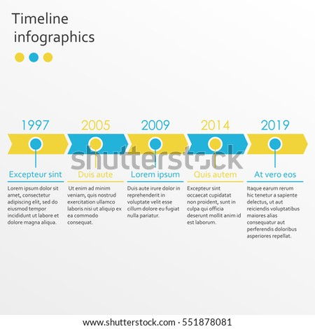 timeline infographics template 5 steps arrows stock vector royalty