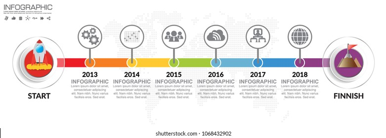 Timeline infographics template with 6 colorful options, workflow or process diagram, vector eps 10