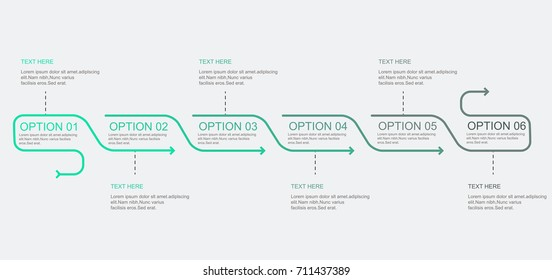 Timeline infographics template with arrows design. Vector eps10 illustration. Can be used for workflow layout, diagram, annual report, web design. Business concept with 6 options, steps or processes.