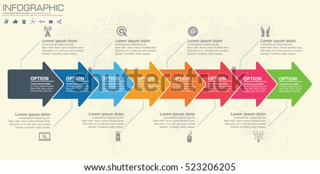 Timeline Flowchart Template | Timeline Infographics Template Arrows Flowchart Workflow Stock
