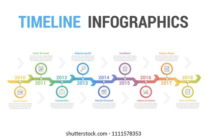 Timeline infographics template with arrows, workflow or process diagram, soft gradient colors, vector eps10 illustration