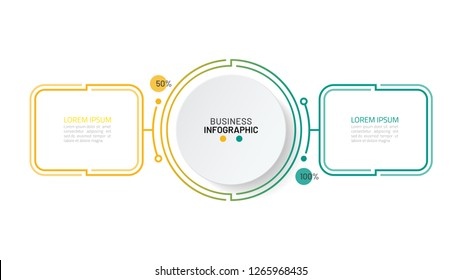 Timeline infographics template. Business concept with 2 options, steps or processes. Vector illustration.
