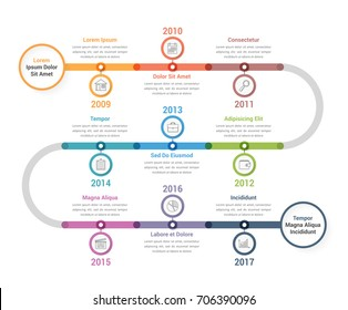 Timeline infographics template with colorful circles, workflow or process diagram, vector eps10 illustration