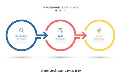 Timeline infographics template design with arrows and circles. Business concept with 3 options, steps, parts.