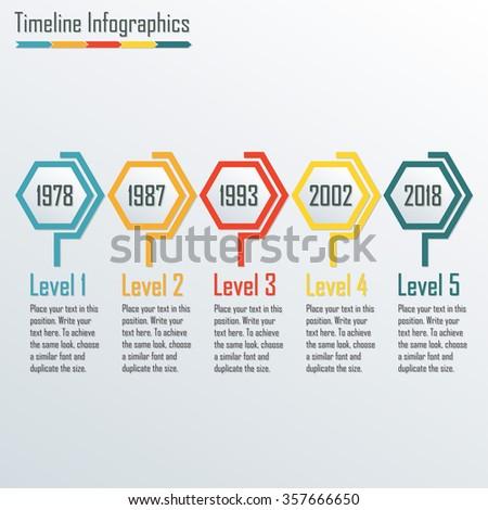 timeline infographics template horizontal design elements の