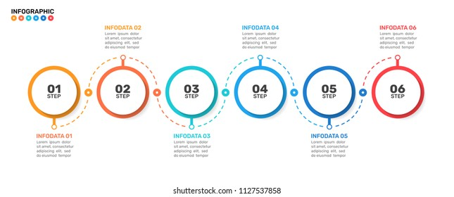 Timeline infographics template with Modern circles shape. Business process line with 6 number options, steps .vector eps10 illustration.