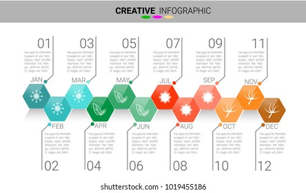 Timeline Infographics Template, Vector infographics timeline design template 12 months 1 year, Vector can be used for workflow layout, diagram, number step up options.