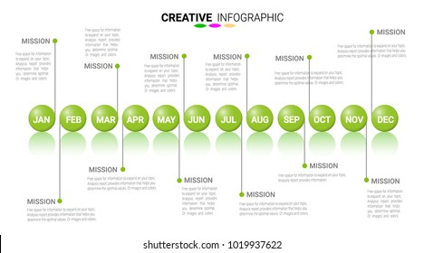Timeline Infographics Template, Vector infographics timeline design template 12 months, 1 year, Vector can be used for workflow layout, diagram, number step up options.
