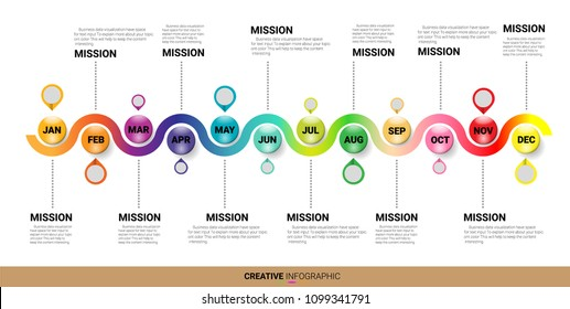 Timeline Infographics Template, Vector infographics timeline design template with 12 label, 12 months 1 year. Presentation timeline. can be used for workflow layout, diagram, number step up options.