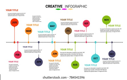 Timeline Infographics Template, Vector infographics timeline design template with 12 label, Timeline in one year 12 months, Vector. can be used for workflow layout, diagram, number step up options.