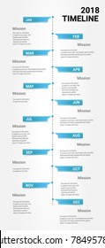 Timeline Infographics Template, Vector infographics timeline design template with 12 months 1 year, Vector can be used for workflow layout, diagram, number step up options.